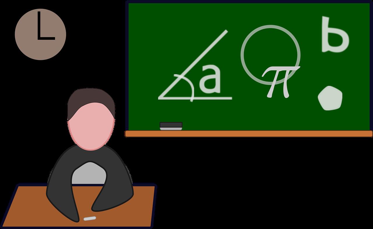 教室と黒板のイラスト
