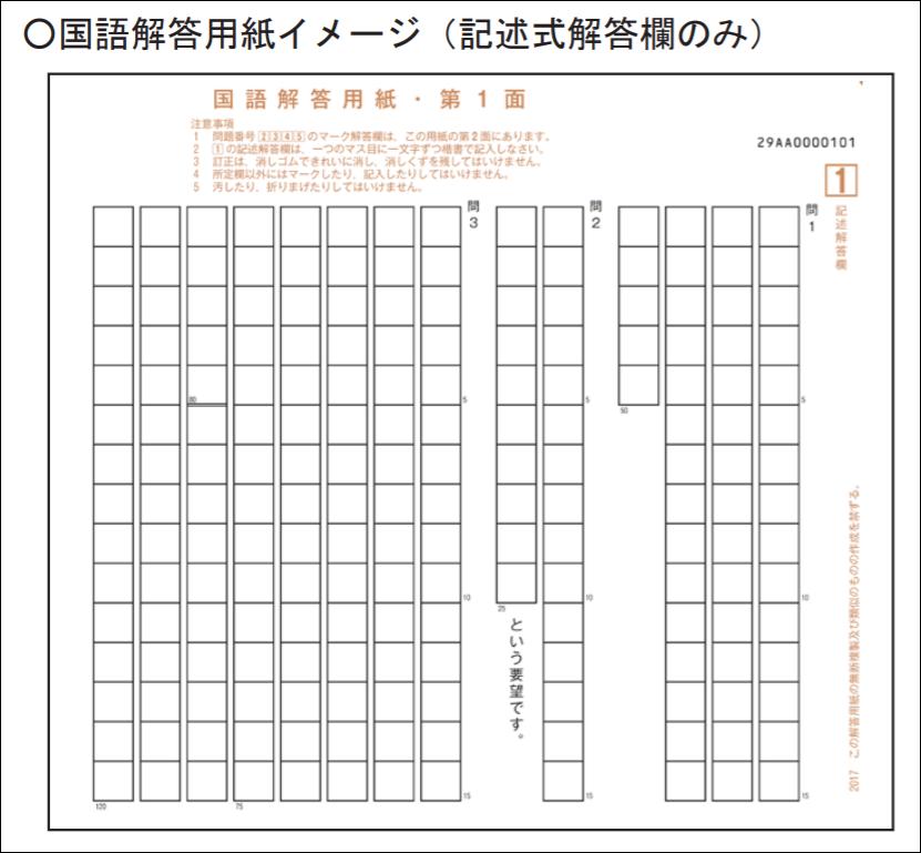 第2回試行調査の国語解答用紙