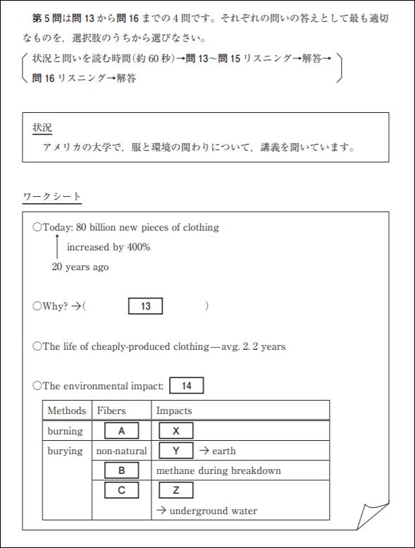 試行調査英語第1回第5問