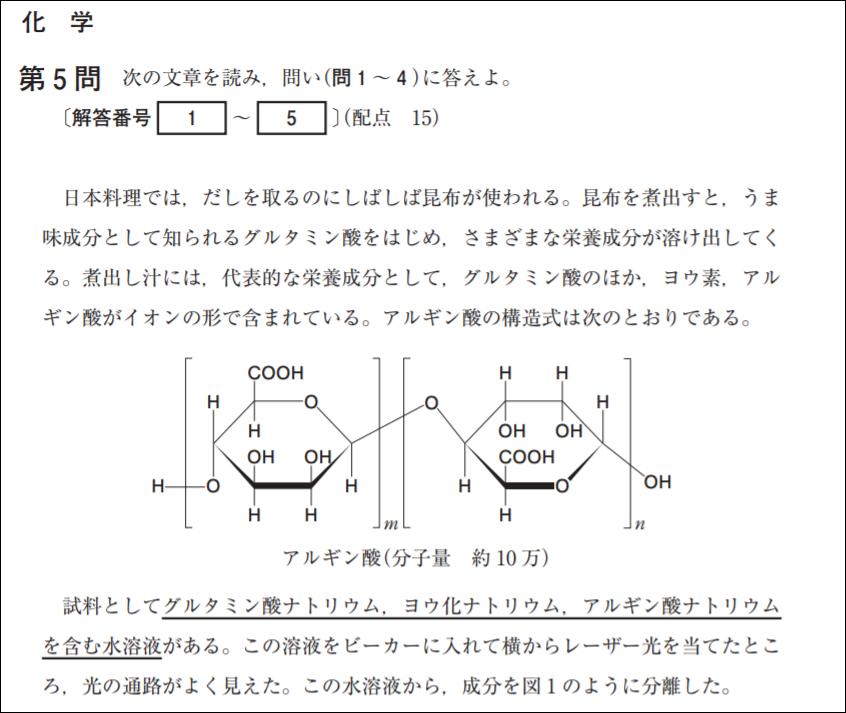 試行調査第2回化学の問題例