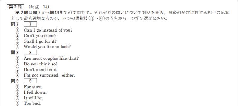 センター英語リスニング第2問
