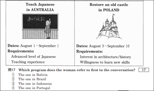センター英語リスニング第3問のB