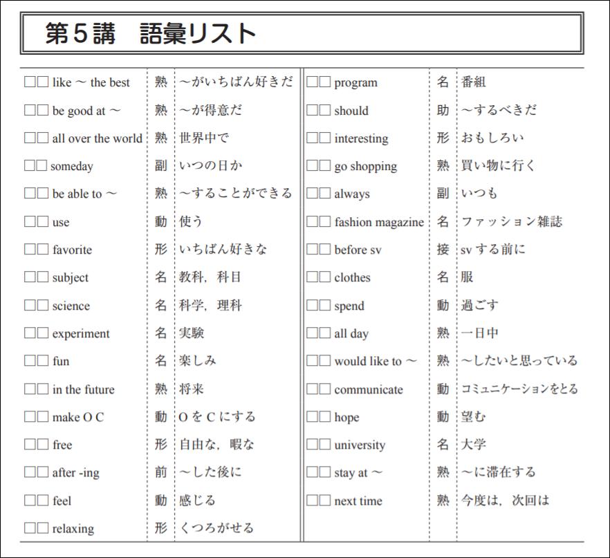 スタディサプリの英検対策講座の語彙リスト