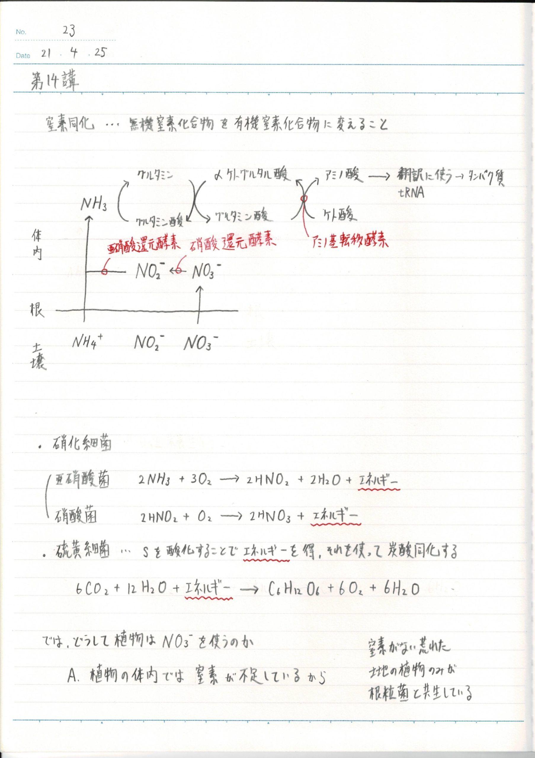 理科の授業ノート