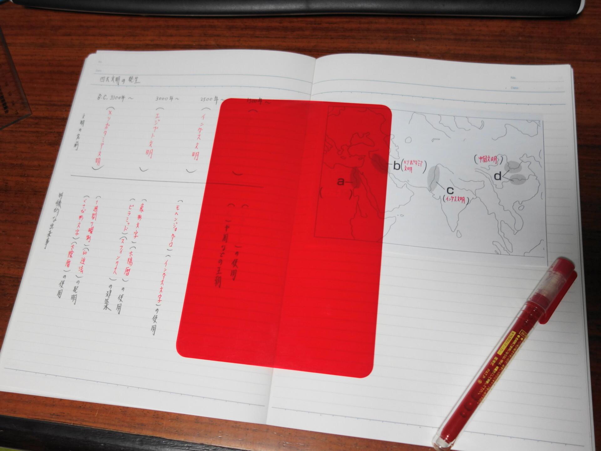 文明の成り立ちについて年表と白地図にまとめたノート