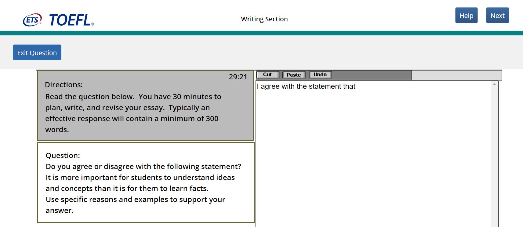 TOEFLのライティングの出題例