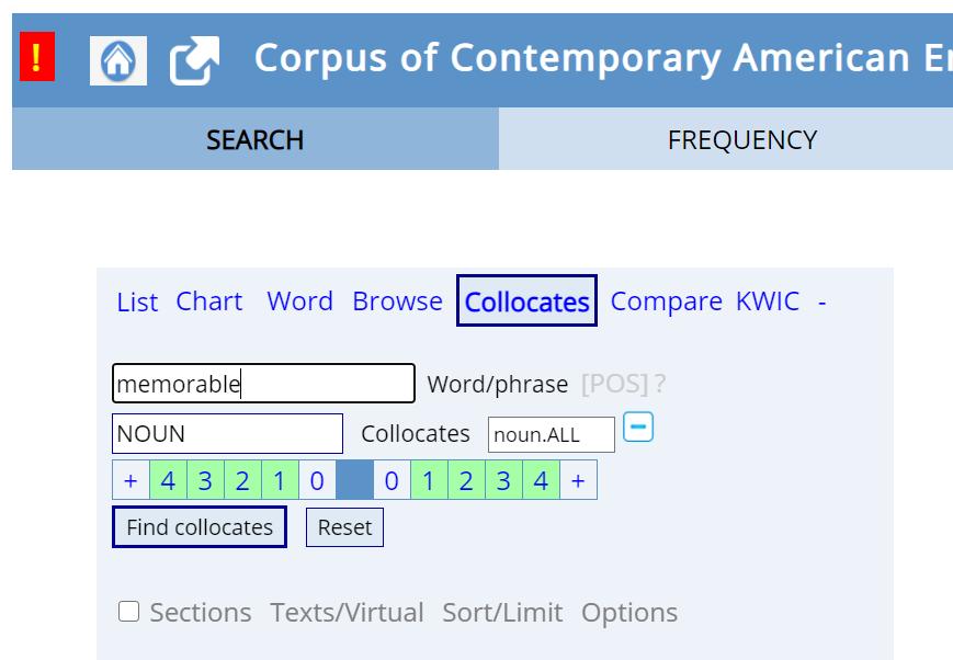 Collocatesモードで検索する様子