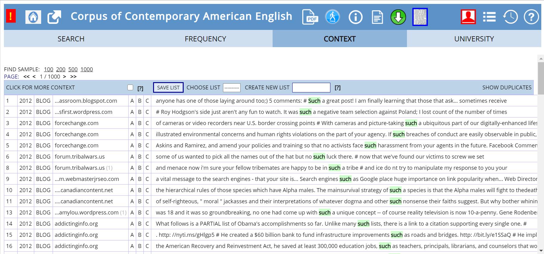 COCAの検索結果と表示された例文