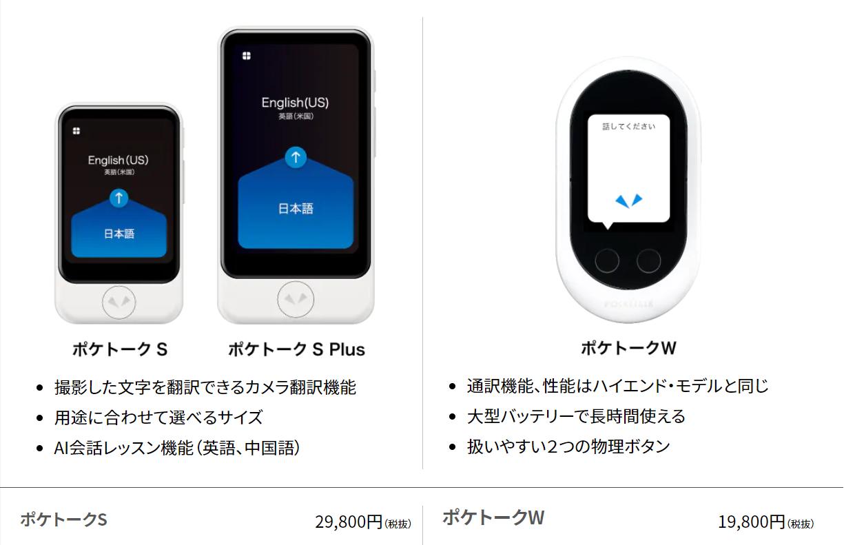 ポケトークSとWの機能比較。値段とカメラ・AI会話レッスン機能の有無が異なる