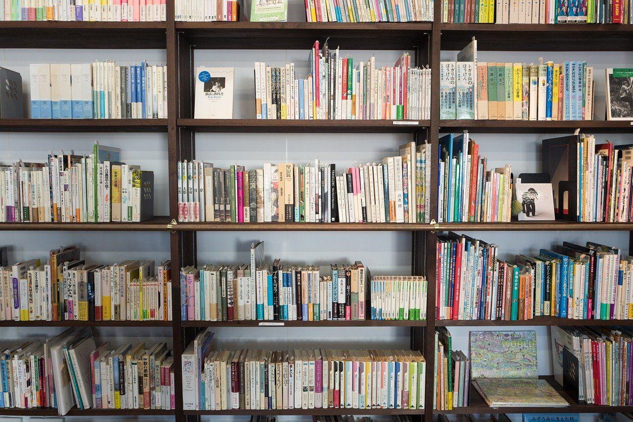 多くの本が並んだ棚
