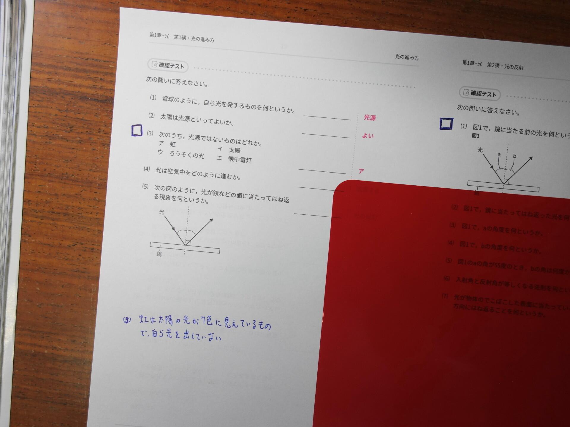 チェックボックスなどの書き込みを行ったスタサプの確認テスト