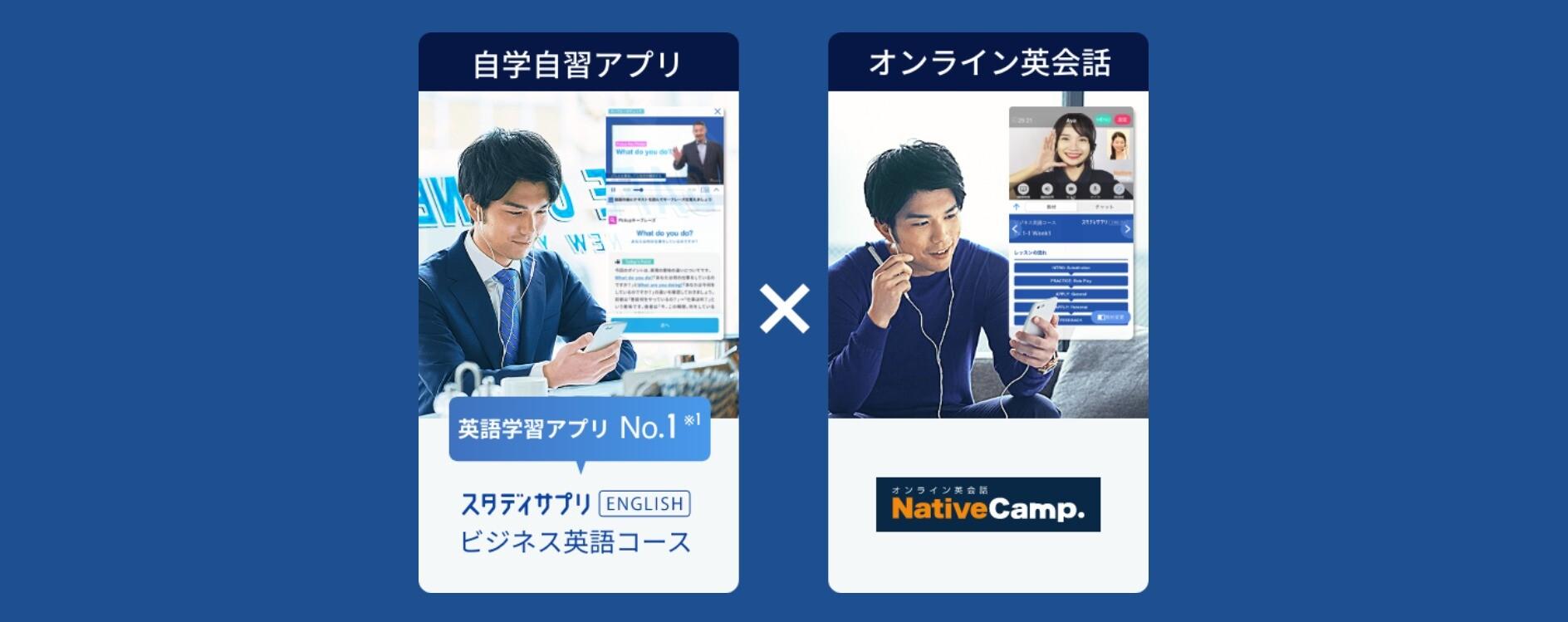 ネイティブキャンプとスタディサプリの連携を表すイメージ