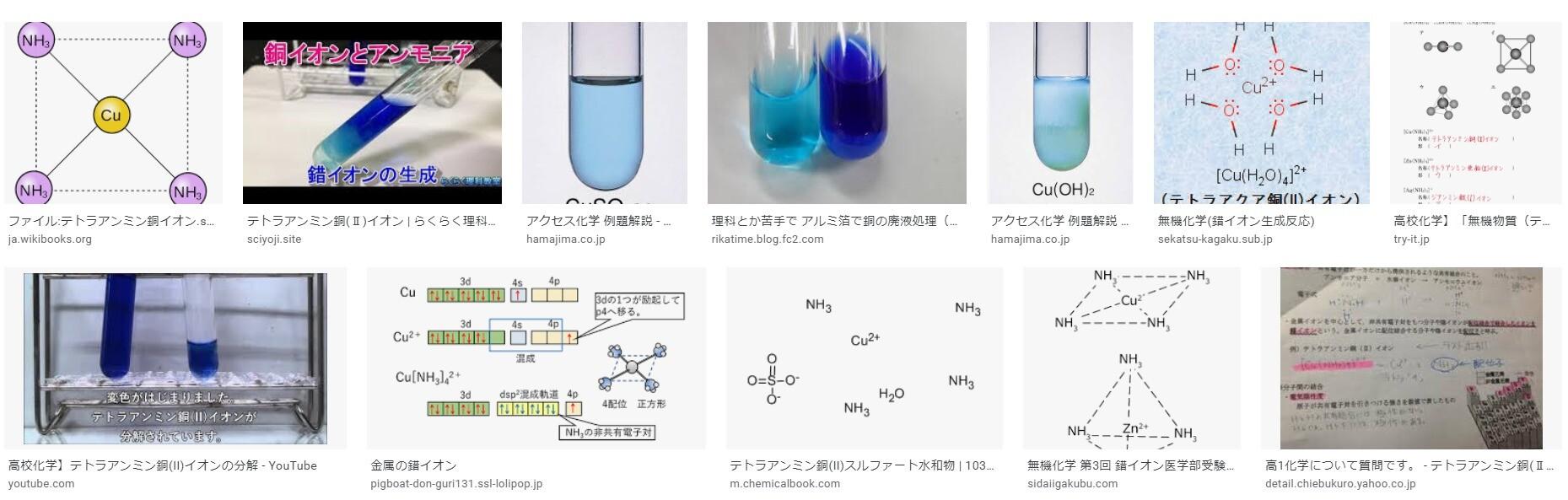 金属イオンの色と画像検索