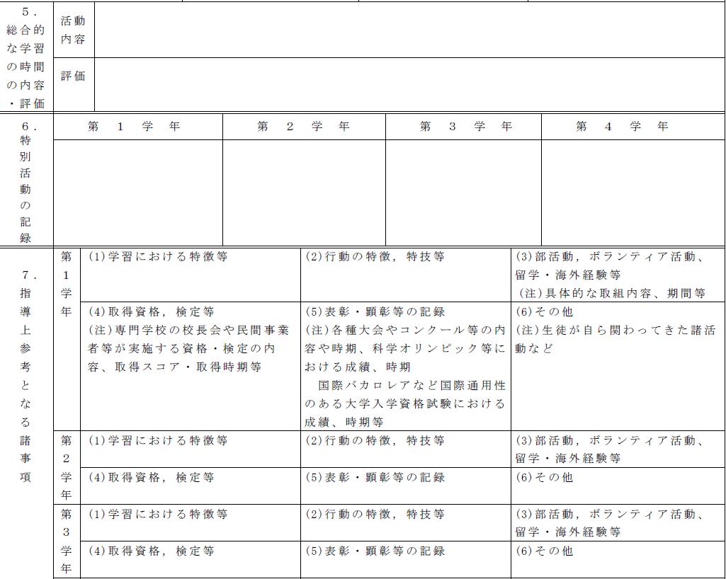 調査書の記入欄