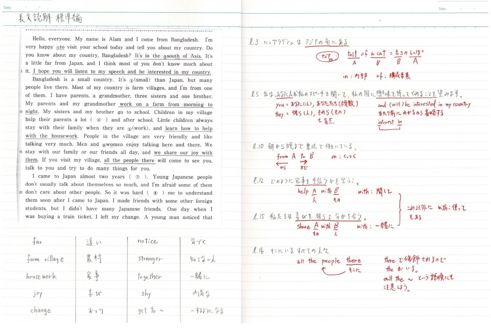 英語長文の弱点分析ノート